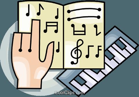 Tastatur und Notenblatt Vektor Clipart Bild.