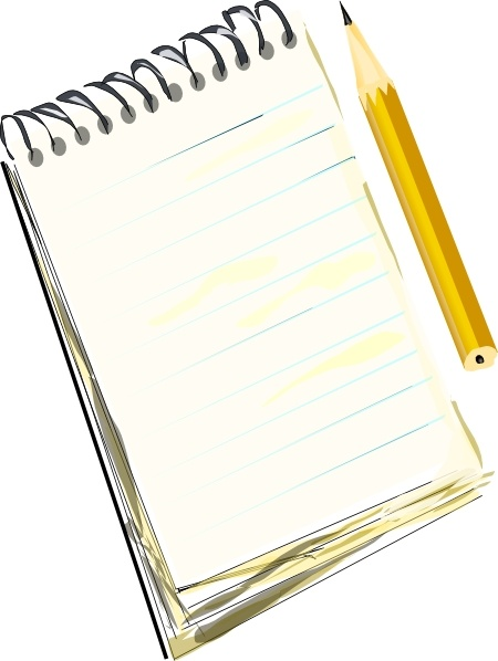 Notepad Pencil clip art Free vector in Open office drawing.
