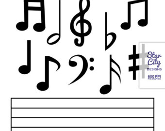 Music notes black and white notes class clipart black and white.