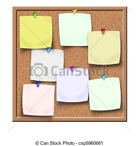 Clipart of cork notice board with blank sticker notes csp5960681.