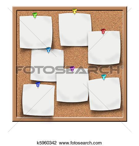 Clip Art of cork notice board blank sticker k5960342.
