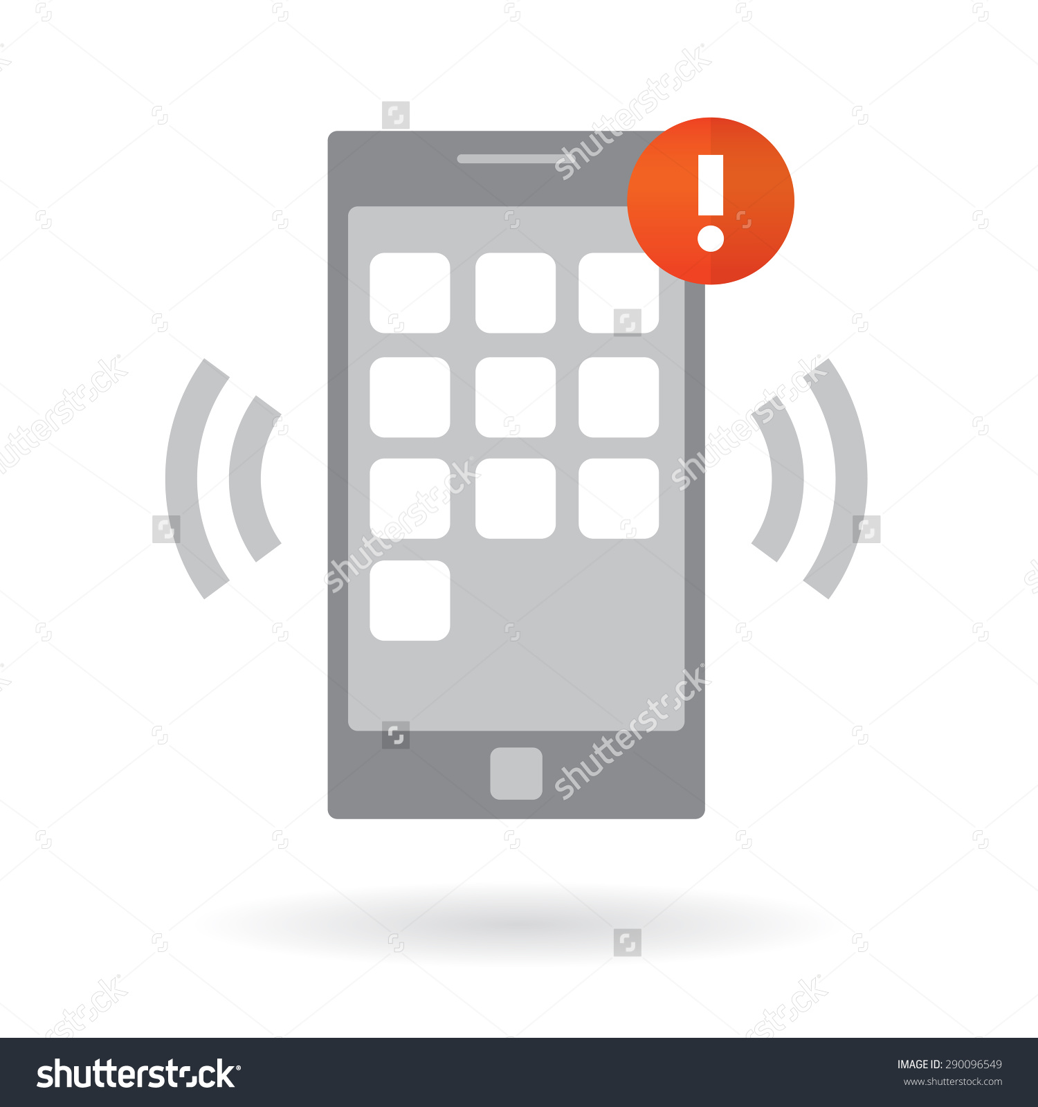 Mobile Smart Phone Alarm Notification Modern Stock Vector.