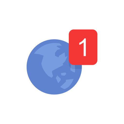 Earth, globe, notification, one notification icon.