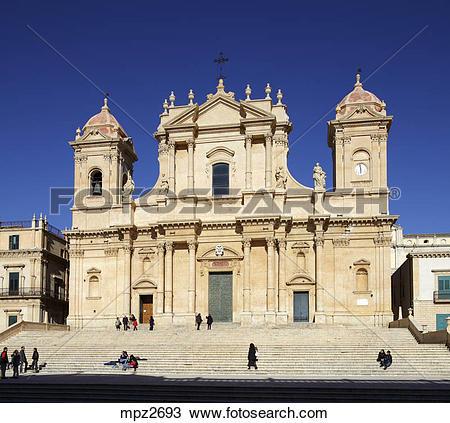 Stock Photo of San Nicolo Cathedral in Piazza del Municipio, Noto.
