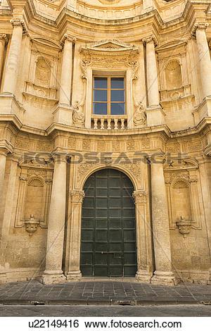 Stock Images of Baroque church facade.