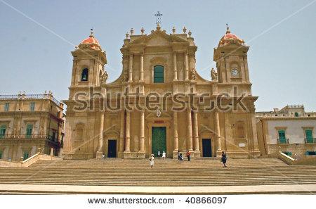 Baroque Church San Francesco Noto Sicily Stock Photo 70454248.