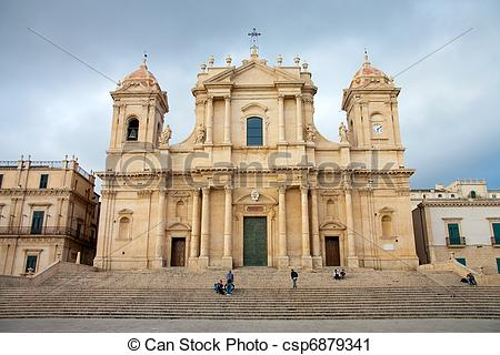 Stock Photography of View of Noto baroque town, in Sicily (Italy.