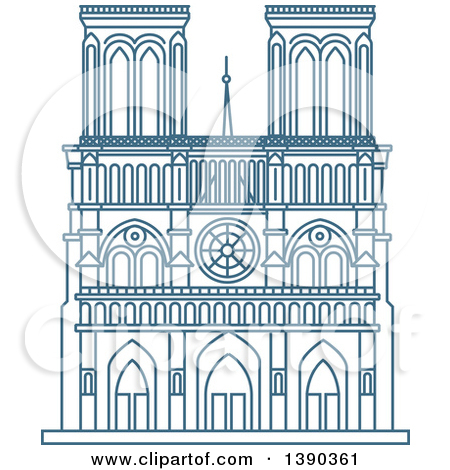 Clipart of a Blue Lineart Styled Landmark, Notre Dame De Paris.