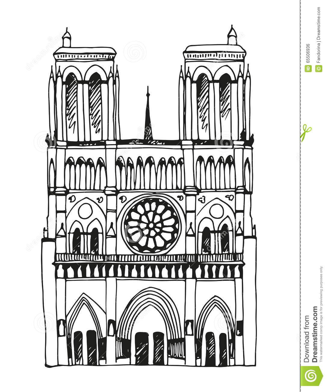 Hand Drawn Notre Dame De Paris, France Stock Vector.