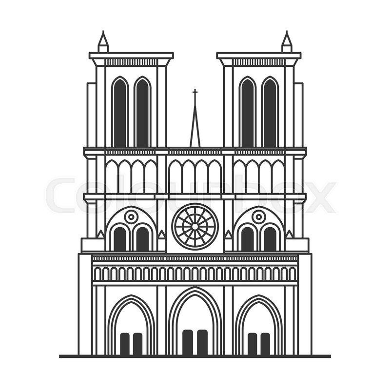 Notre Dame de Paris Cathedral. Line.