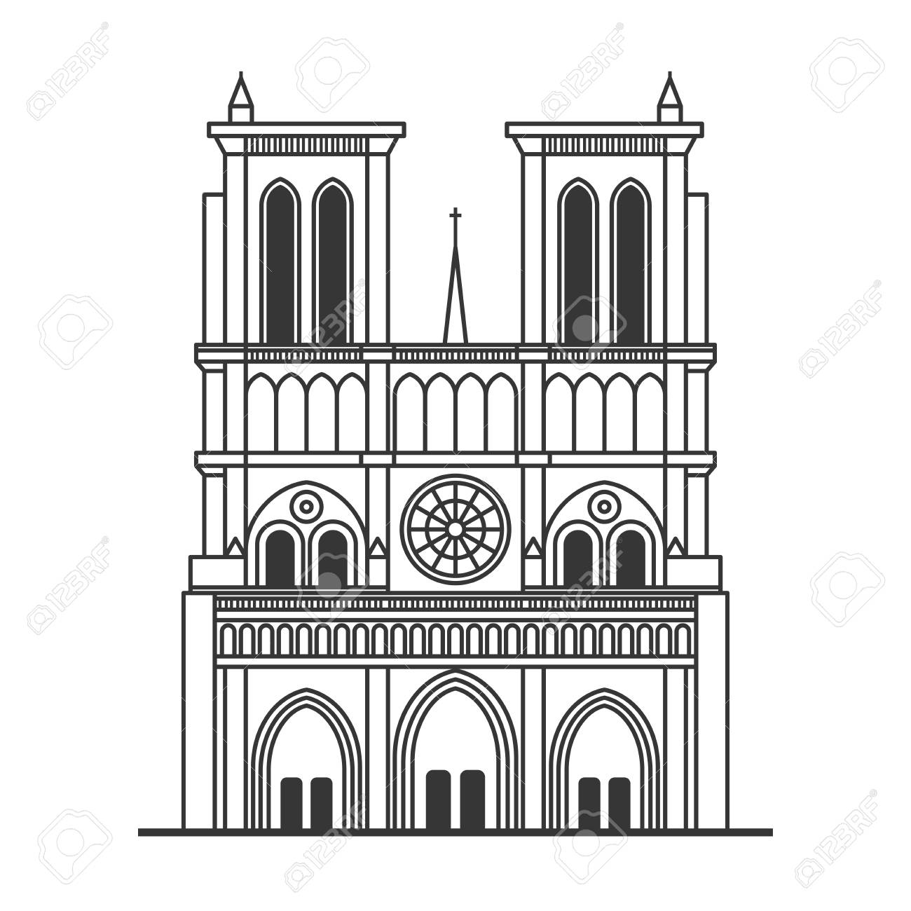 Notre Dame de Paris Cathedral. Line Art Style. Vector.