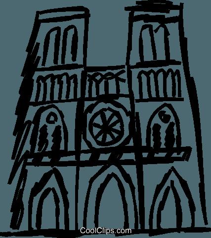 Notre Dame Royalty Free Vector Clip Art illustration.
