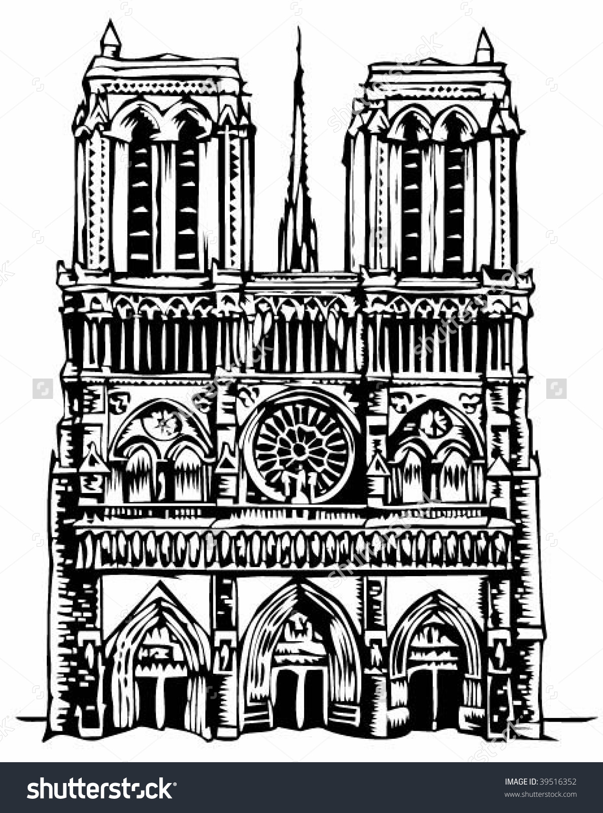 Notre Dame Cathedral Illustration Stock Vector 39516352.