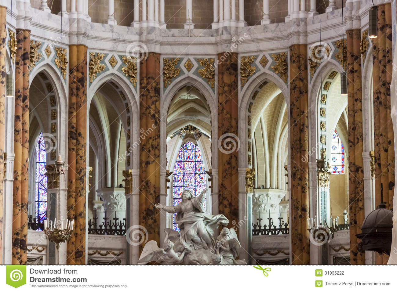 Interior The Cathedral Of Our Lady Of Chartres Stock Photography.