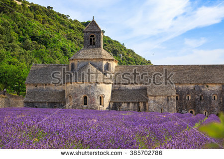 Lavender Fields Senanque Monastery Provence France Stock Photo.