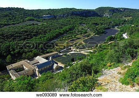 Stock Photograph of Bird's eye view of the Cistercian abbey Notre.