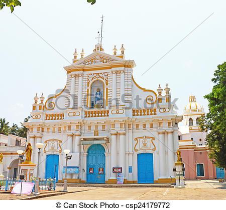 Image de dame, Inde, ponducherry, église, notre, tamil, Nadu.