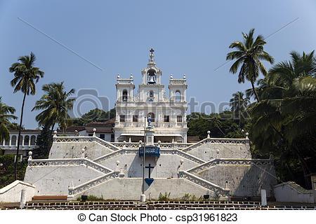 Photo de conception, Goa, Inde, église, panaji, notre, dame.