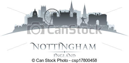 Clipart Vector of Nottingham city skyline silhouette vector.