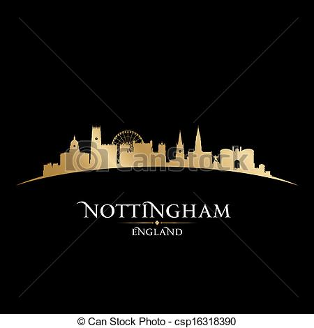 EPS Vectors of Nottingham England city skyline silhouette black.