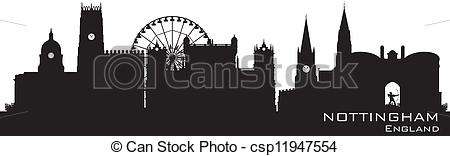 Clipart Vector of Nottingham, England skyline. Detailed silhouette.