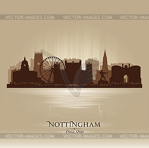 Nottingham England skyline city silhouette.