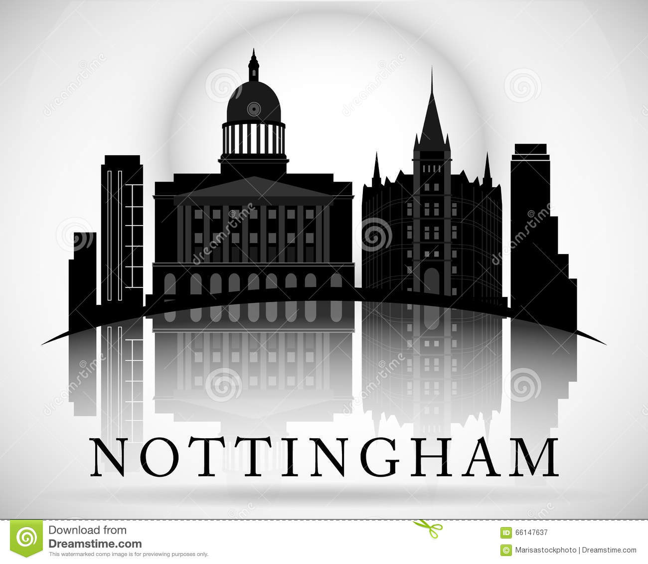 Modern Nottingham City Skyline Design. England Stock Vector.