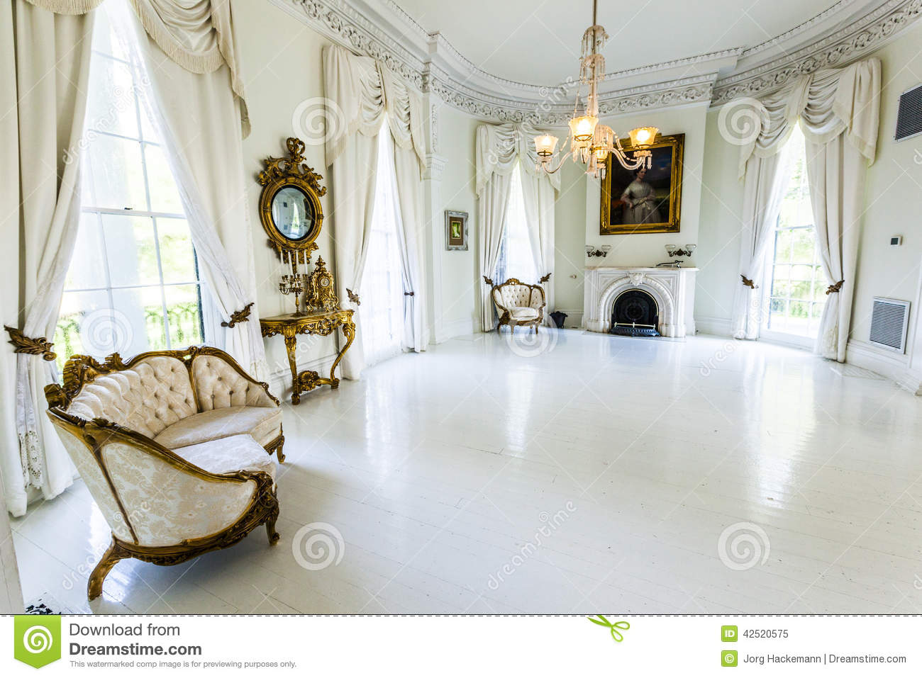 White Ballroom In The Nottoway Plantation House Editorial Image.