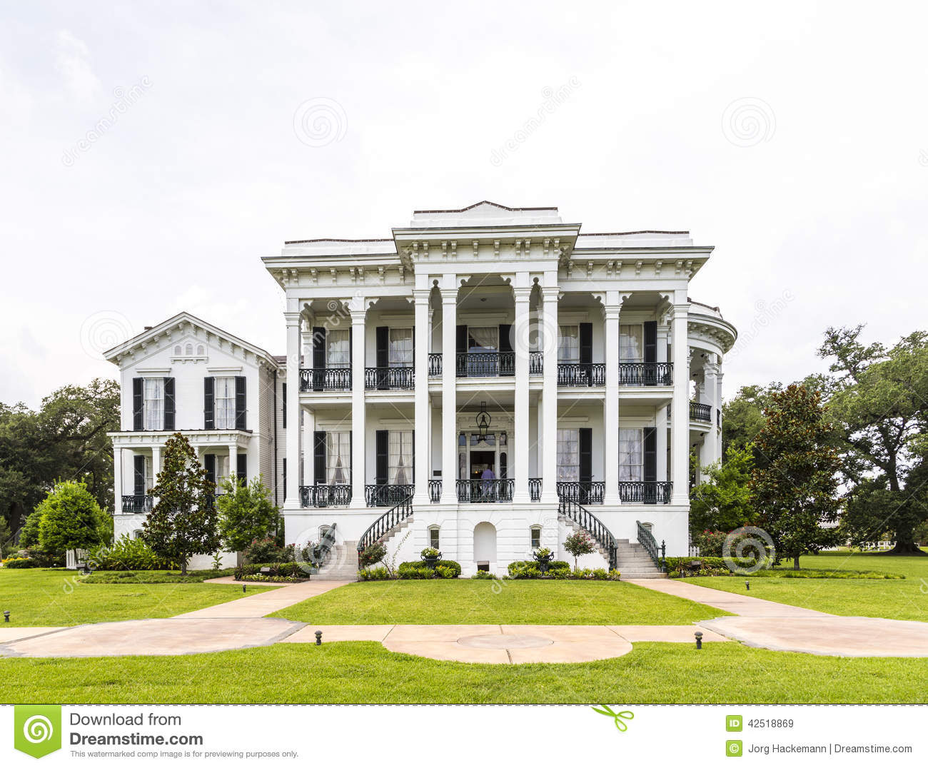 Historic Nottoway Plantation House In Louisiana Stock Photo.