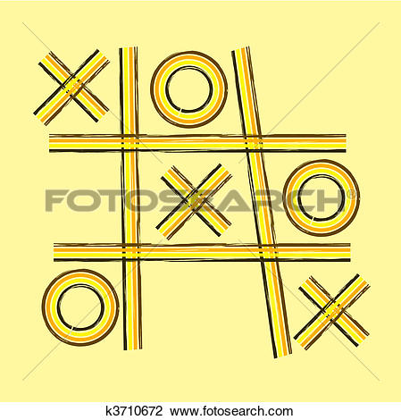 Clipart of A grunge retro tic tac toe or noughts and crosses game.