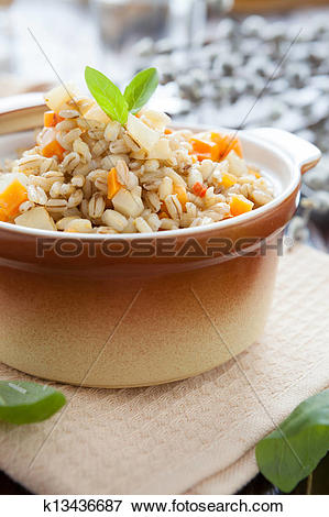 Picture of nourishing barley porridge with root vegetables.