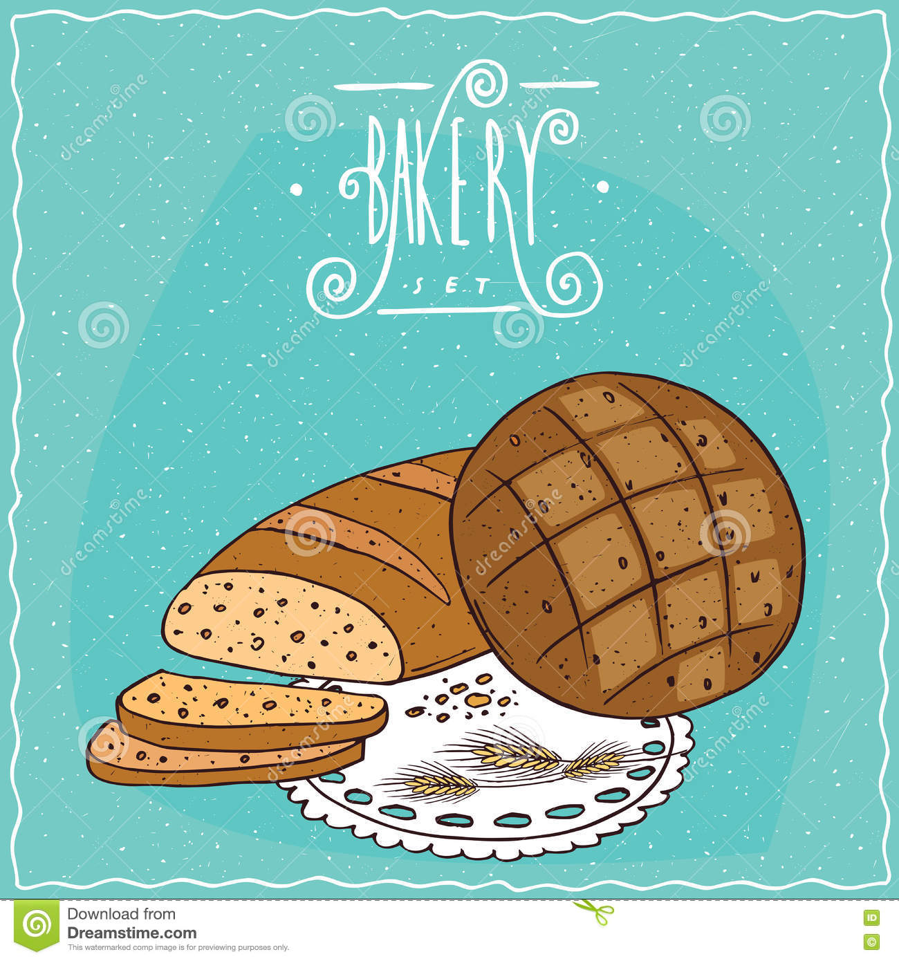 Loaf Wheat Bread And Round Rye Bread Stock Vector.