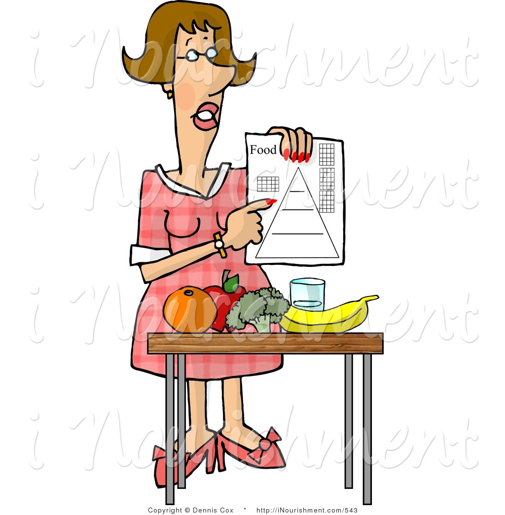 Clipart of a Female Dietitian Teaching the Public About Food and.