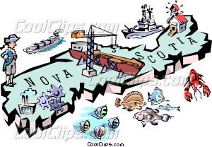 Nova Scotia map Vector Clip art.
