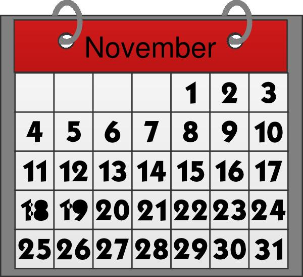 November Calendar Clipart.