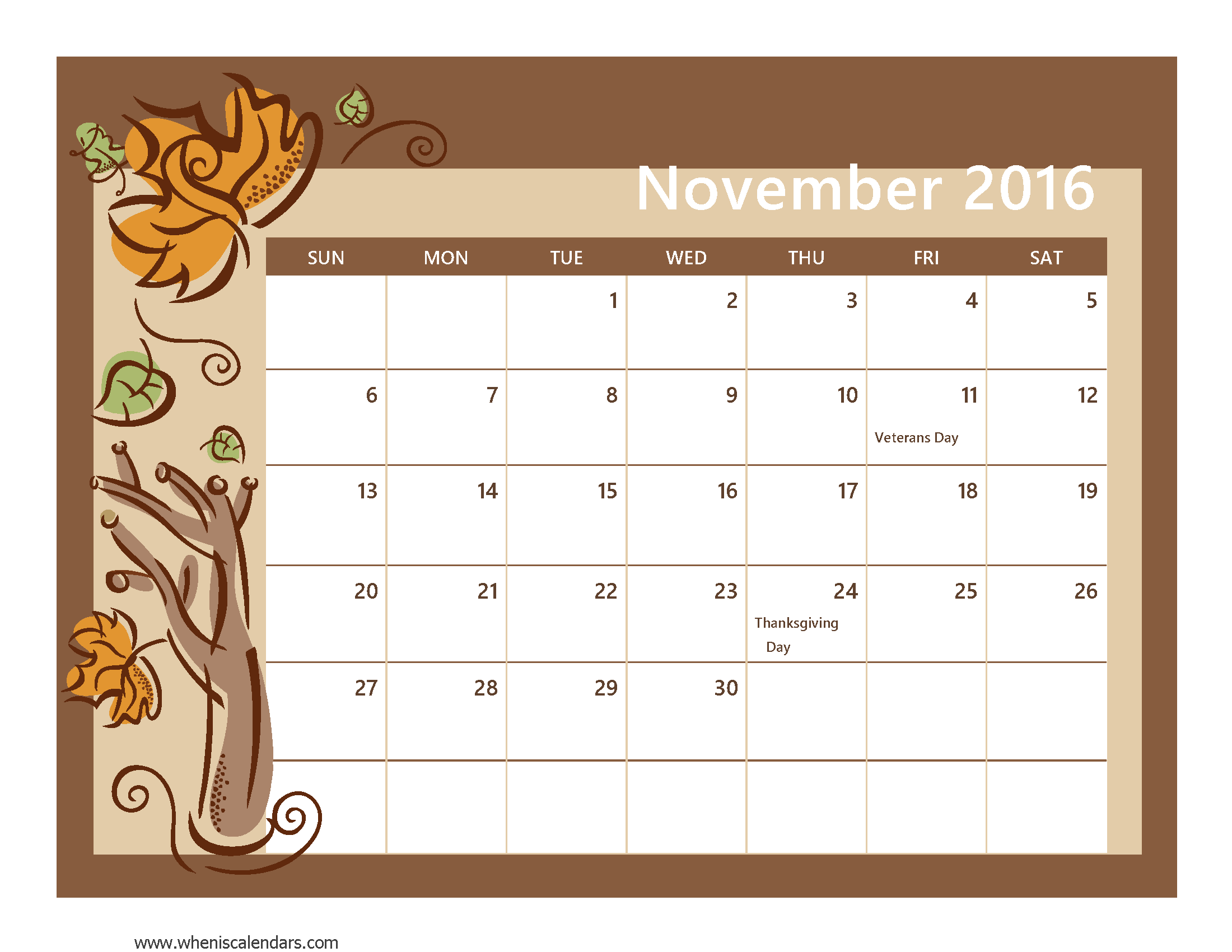 Calendar Clipart November 2016.