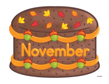 November Birthday Cake Clip Art.