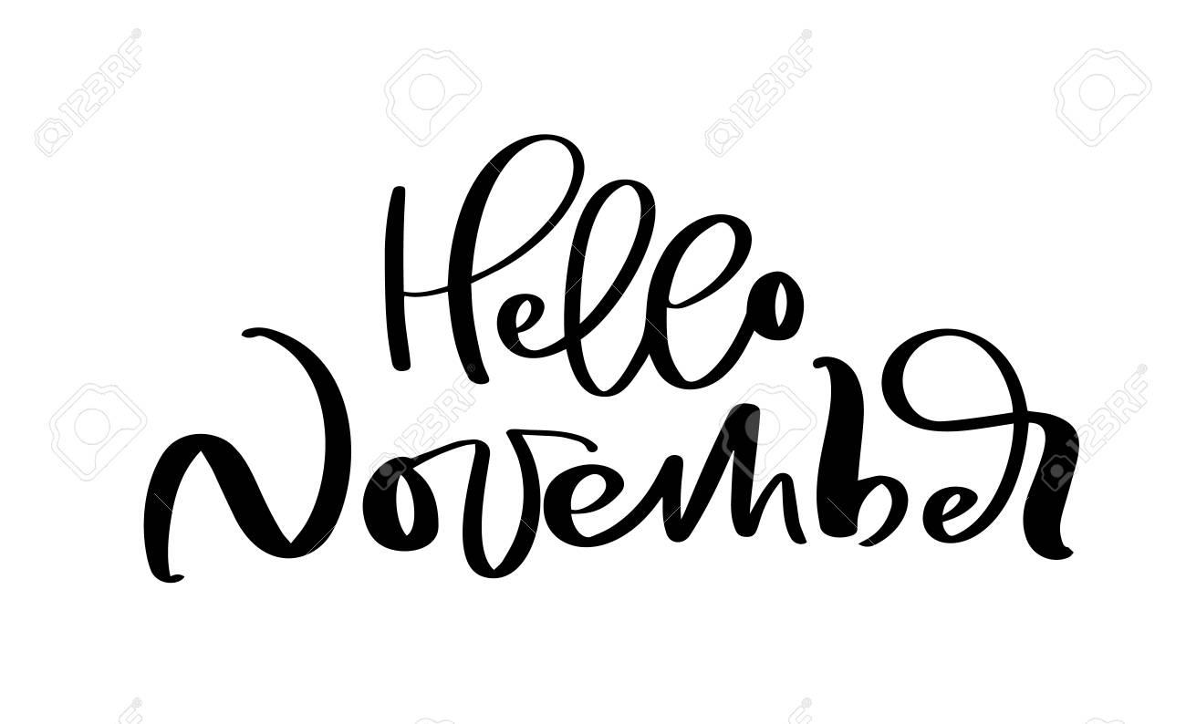 Hello November Vector ink lettering. Handwriting black on white...