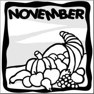 Clip Art: Month Graphic: November B&W I abcteach.com.