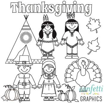 November Clip Art Set Thanksgiving Pilgrim Indian Pumpkin Turkey Fall Leaves.