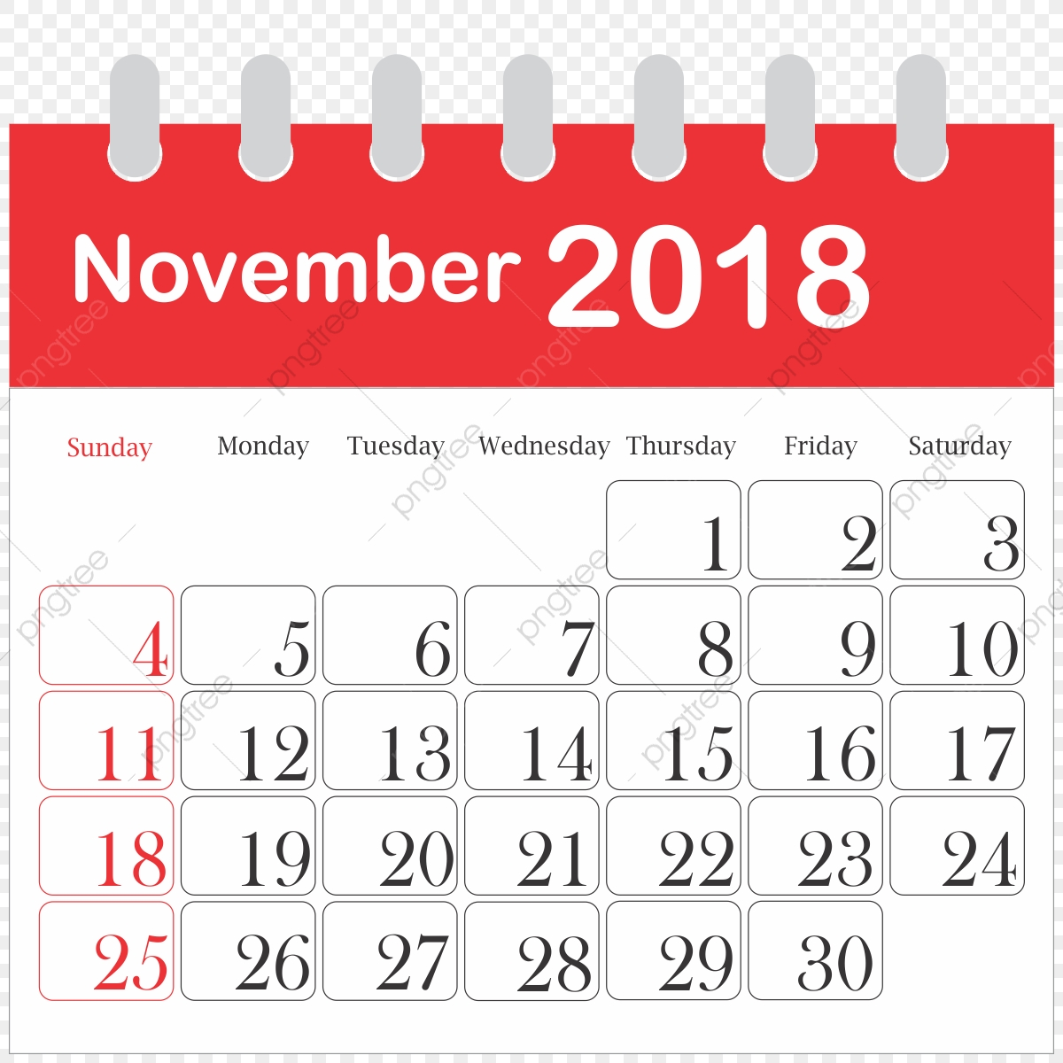 Month Calendar 2018 November, 2018, Icon, Daily PNG.