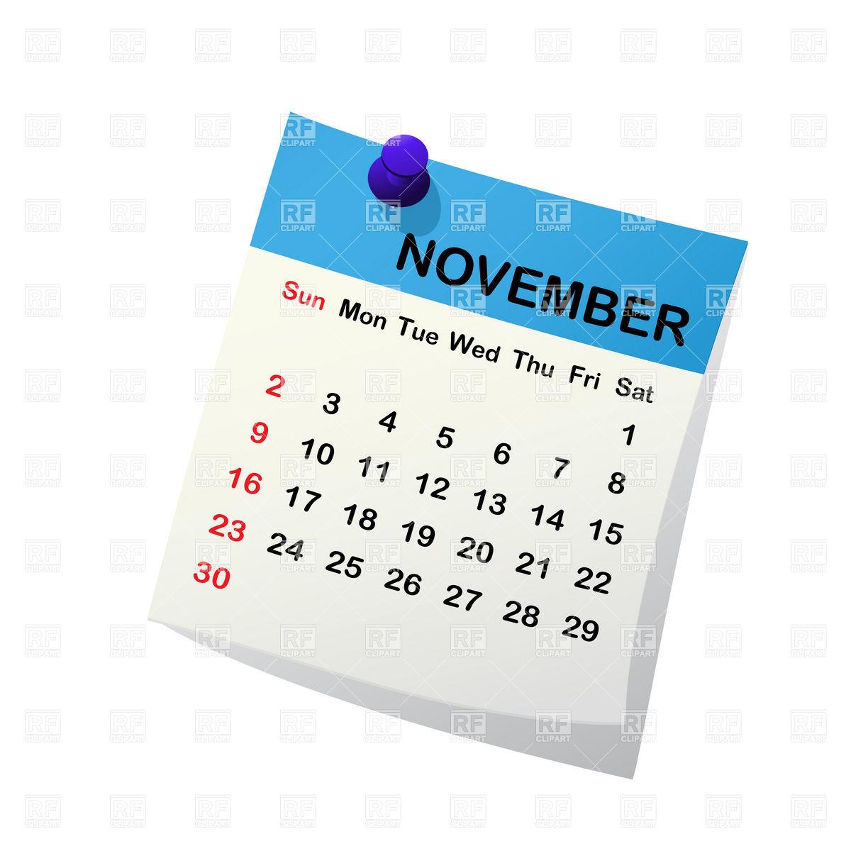 November 2014 month calendar Stock Vector Image.