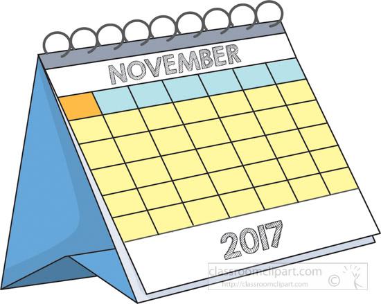 Calendar : Desk Calendar November 2017 Clipart 2.