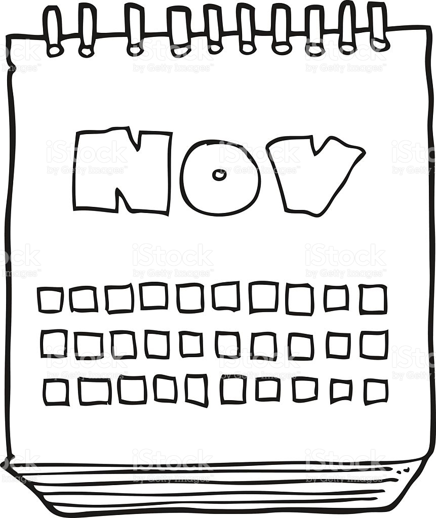 Black And White Cartoon Calendar Showing Month Of November stock.