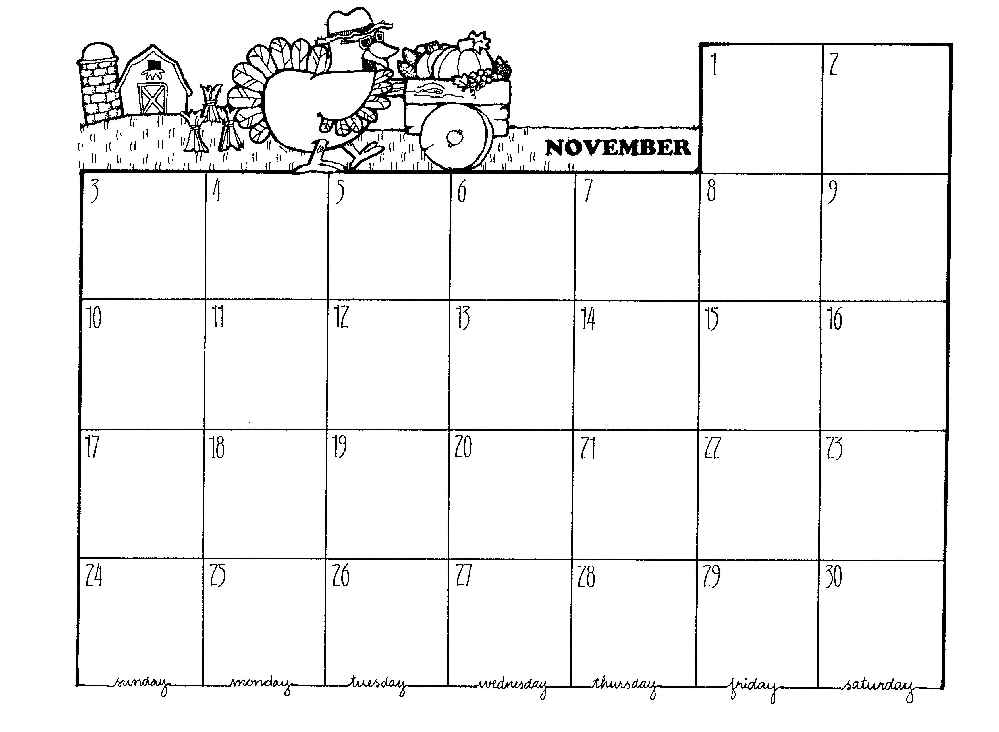 November Calendar Clipart Black And White.
