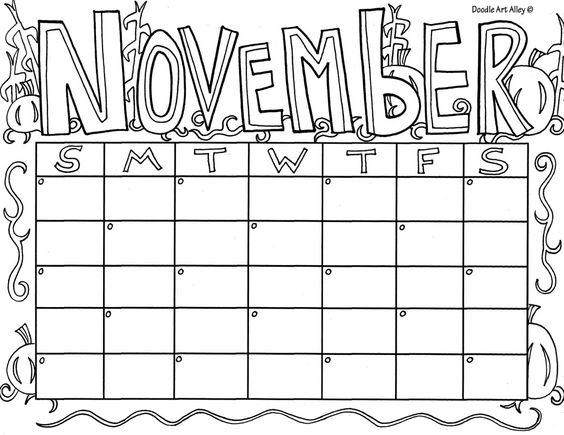 November Calendar Coloring Page.