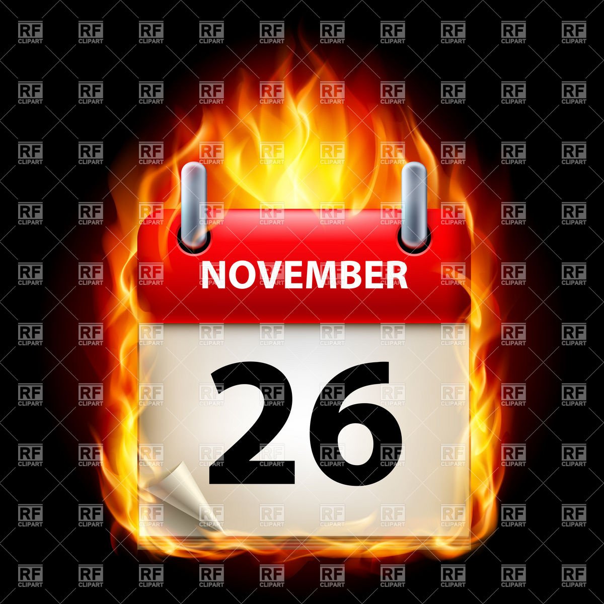 Calendar icon in fire.