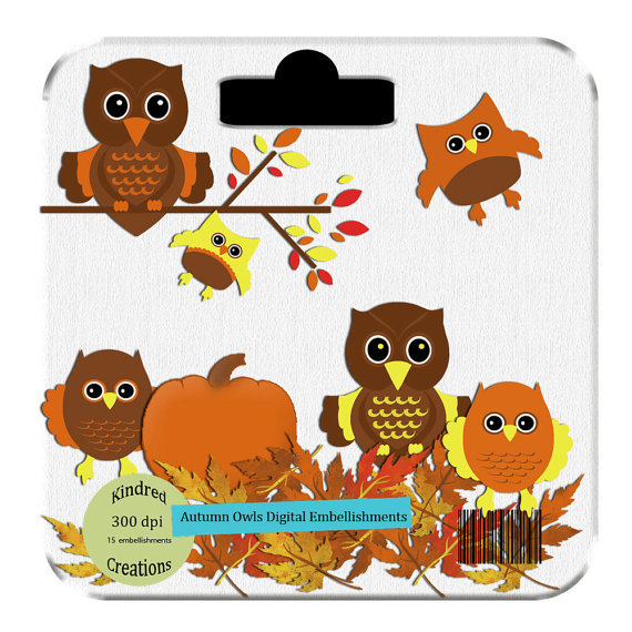 Unique digital designs and scrapbook kits: Autumn Owl Clipart Set.