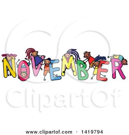 Clipart of a Doodled Sketch of Children Playing on the Word.