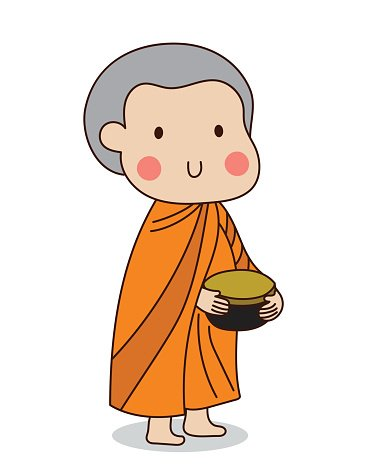 Buddhist novice holding alms bowl to receive food offering.